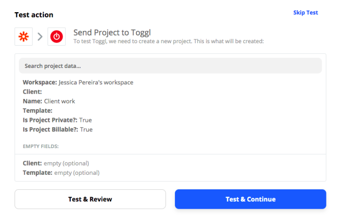 Test action: Test & Review or Test & Continue
