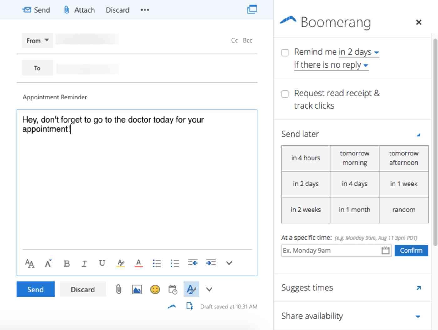 Boomerang Outlook.com Add-in