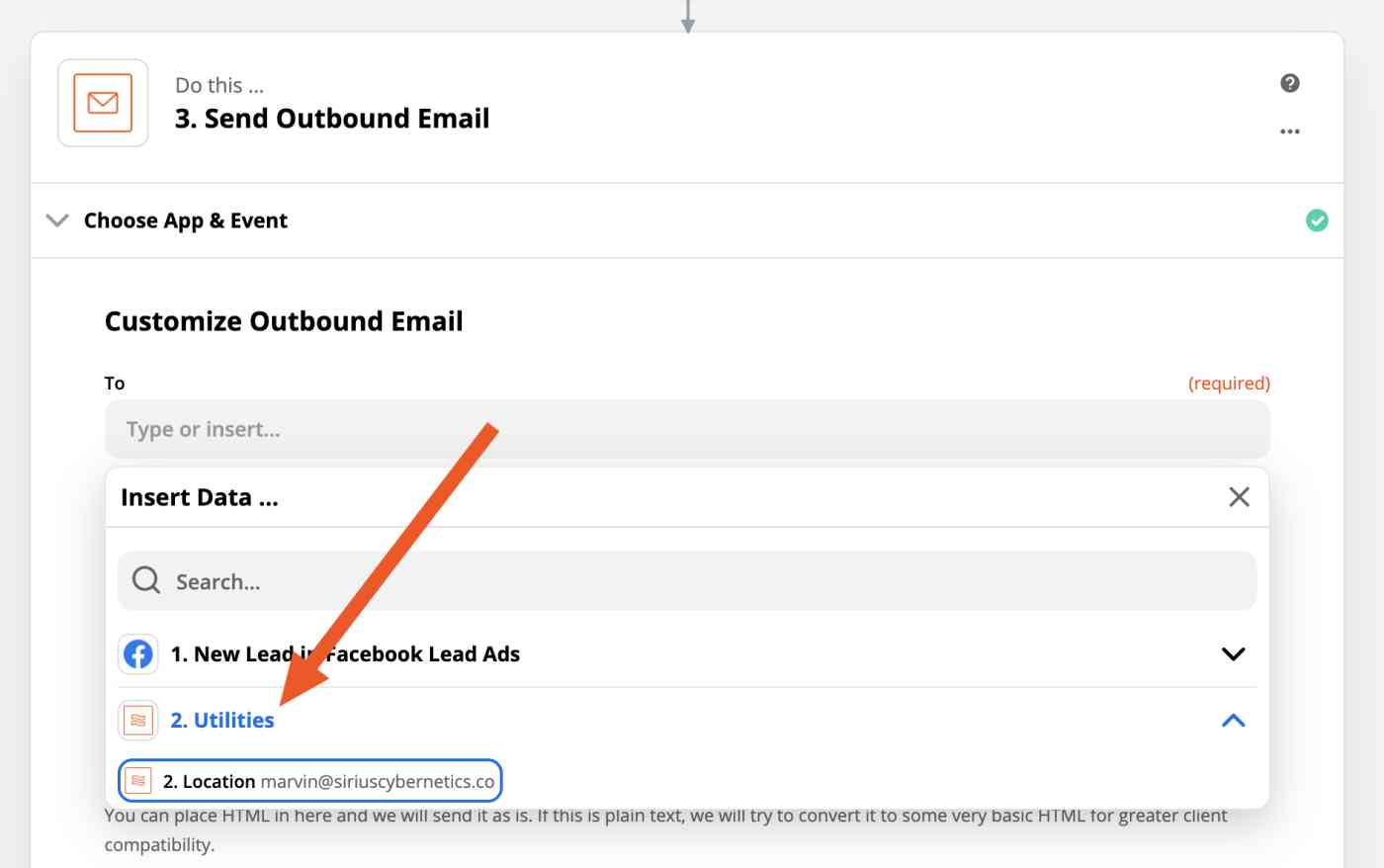 Arrow pointing from the To field in the Send Email to the values provided by the Utilities action, which should be the result of the Lookup Table.