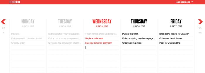 TeuxDeux calendar scheduling