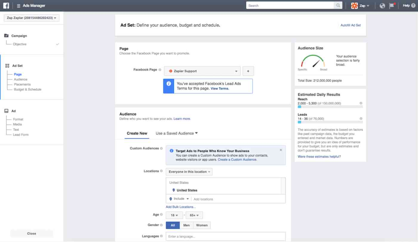 Define audience, budget, and schedule for Facebook Lead Ad