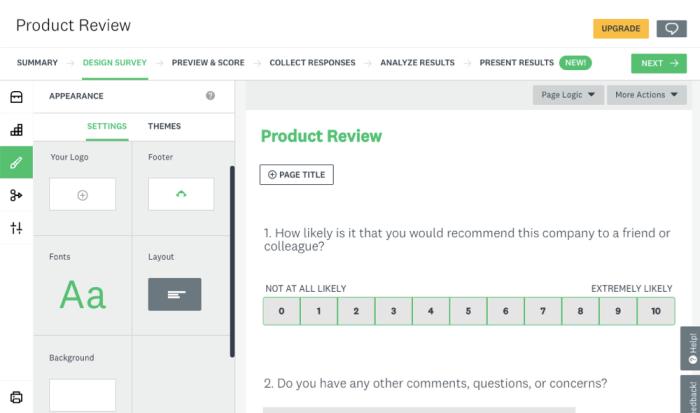 SurveyMonkey design and customization options