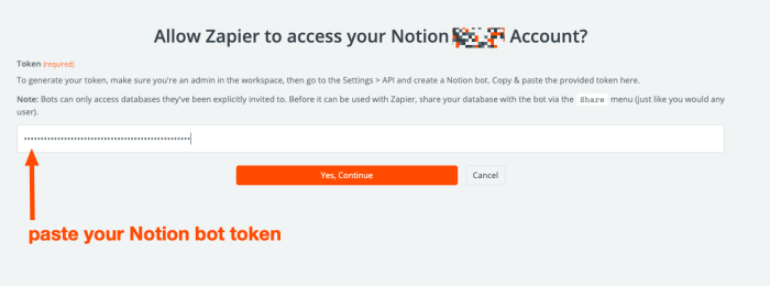 A Zapier pop-up window requesting a bot token from Notion. A red arrow guides users to paste their bot token in the empty field.