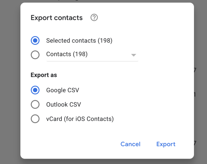 Export options in Google Contacts
