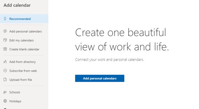 Add personal calendars in Outlook.com