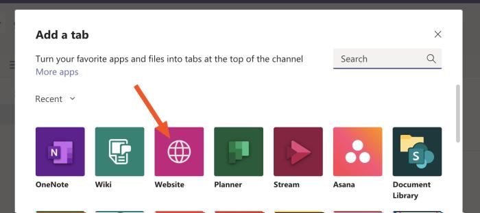 Agregar una pestaña web en Microsoft Teams