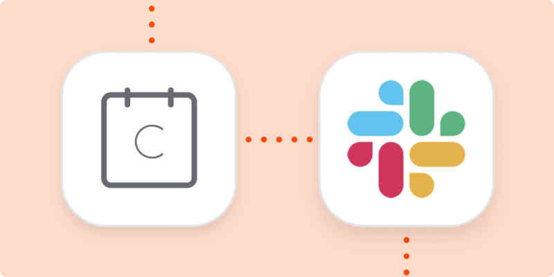 Calendly and Slack app logos on an orange background