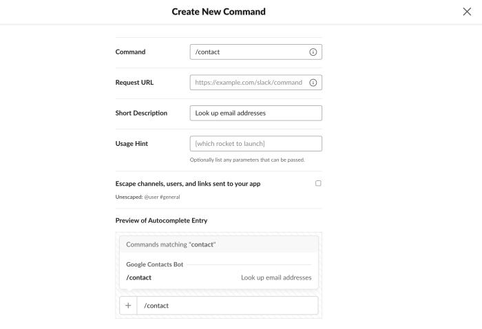Create Slash Command for Slack bot