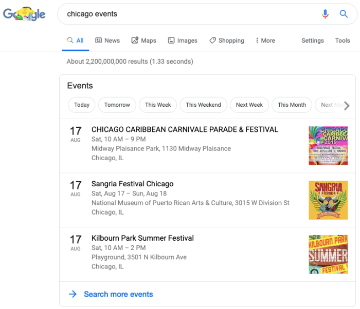Google events calendar