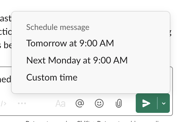 Screenshot of the standard times to schedule a message