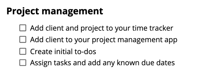 The project management steps from the checklist