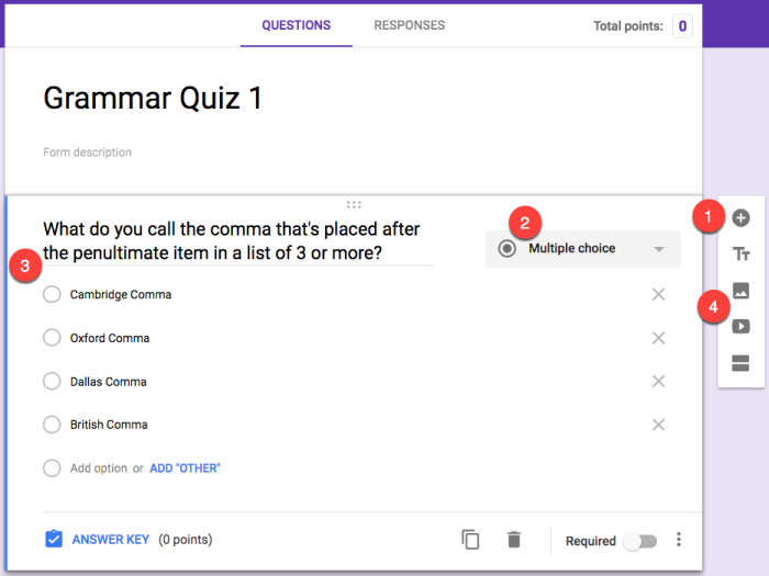 create questions in Google Forms quiz