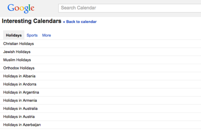 Google Calendar holiday calendar