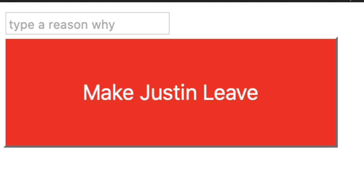 Button that says Make me leave