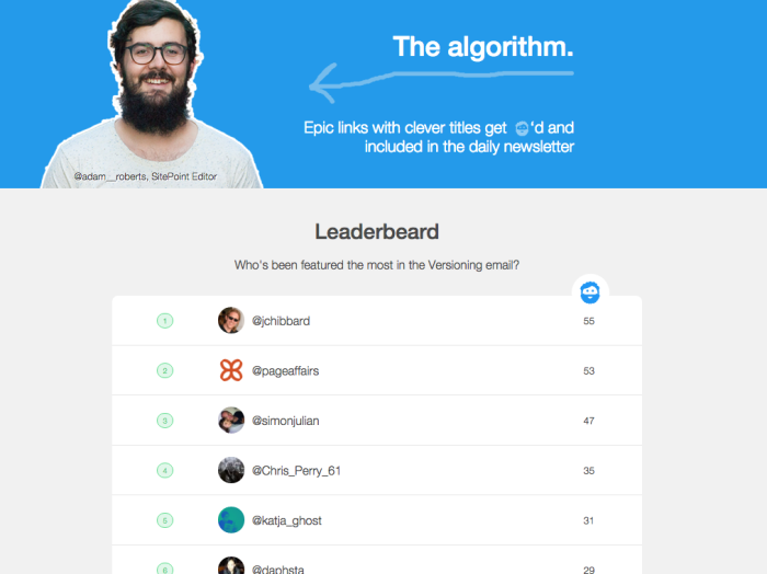 Versioning leaderboard