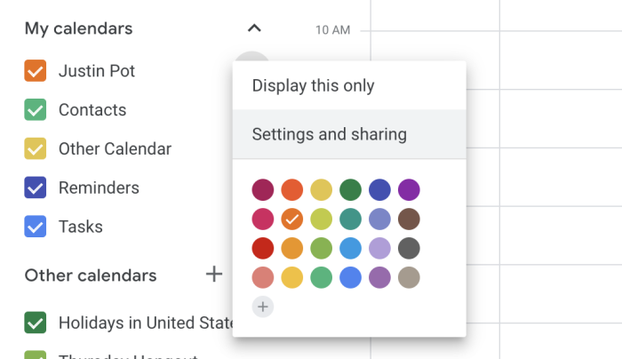 Configuración y uso compartido en Google Calendar