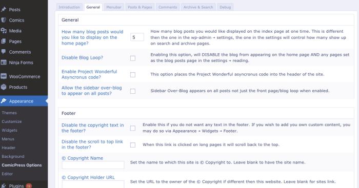 Screenshot of WordPress theme options