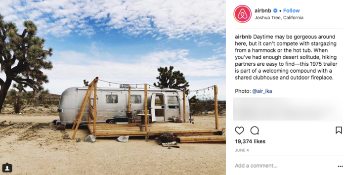 Airbnb Instagram post of a trailer in Joshua Tree