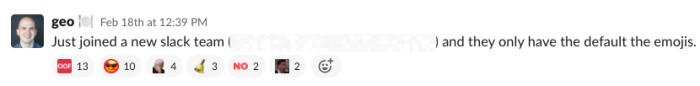 "A Slack message from a Zapier employee. The message reads: ""Just joined a new Slack team and they only have the default emojis."""