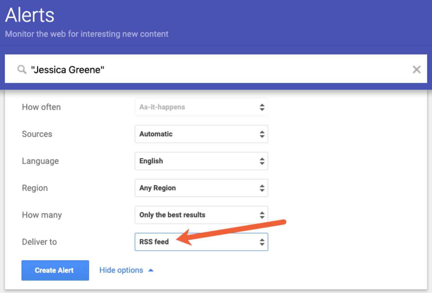get Google Alerts via RSS