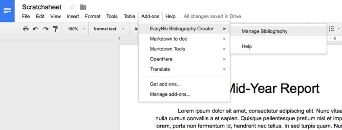 Use Google Docs add-on