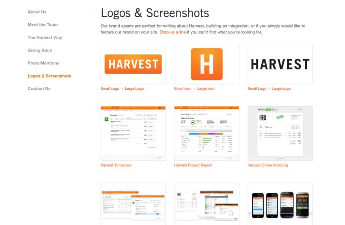 Harvest app screenshots
