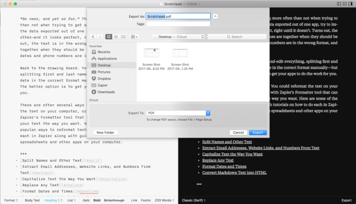 Exportar Markdown a iA Writer