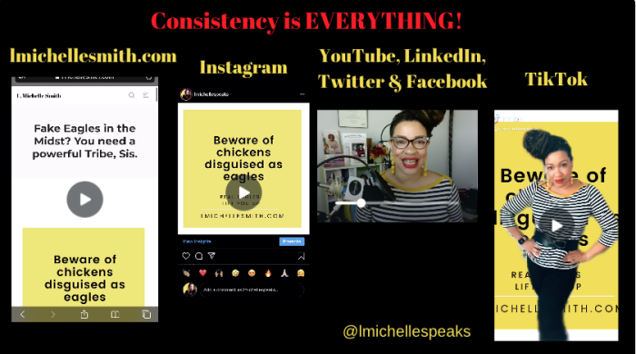 Michelle's content across platforms with a consistent look and feel