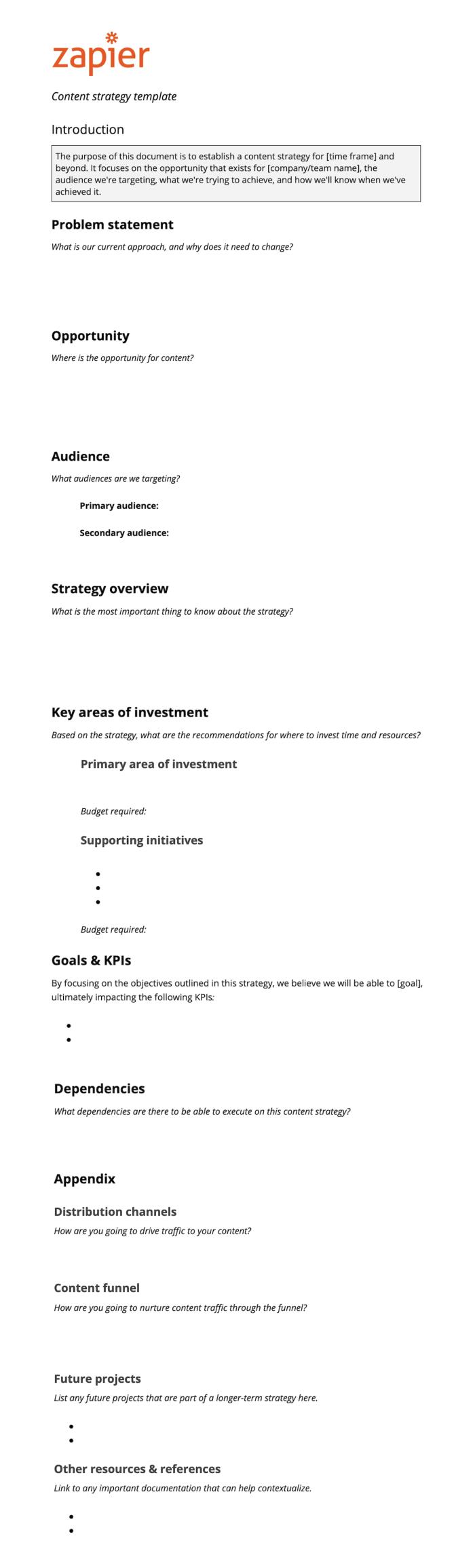Zapier's content marketing strategy template