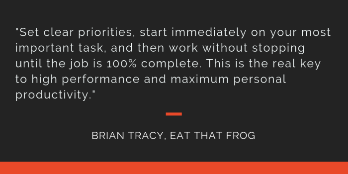 Eat That Frog principle 21: Set clear priorities, start immediately on your most important task, and then work without stopping until the job is 100% complete. This is the real key to high performance and maximum personal productivity.