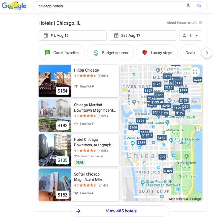 Google search hotel finder