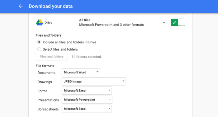 Google Docs Export Settings