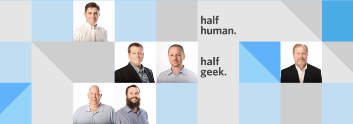 An image from Atiba's website that says half-human, half-geek
