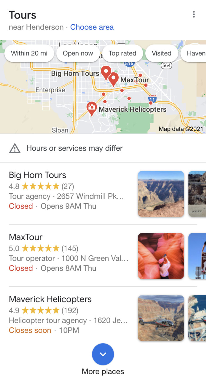 Showing MaxTour's photos in a Google search listing on mobile