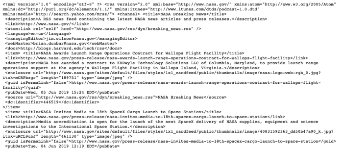 example RSS feed in XML format