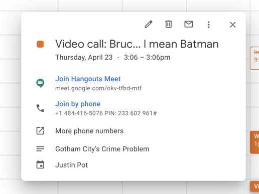 Google Calendar appointment with a Google Meet link