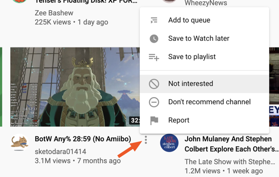 Clicking Not Interested lets YouTube know you