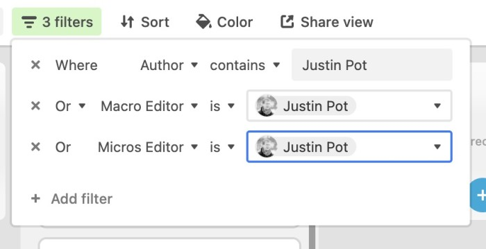Filtering by author in Airtable