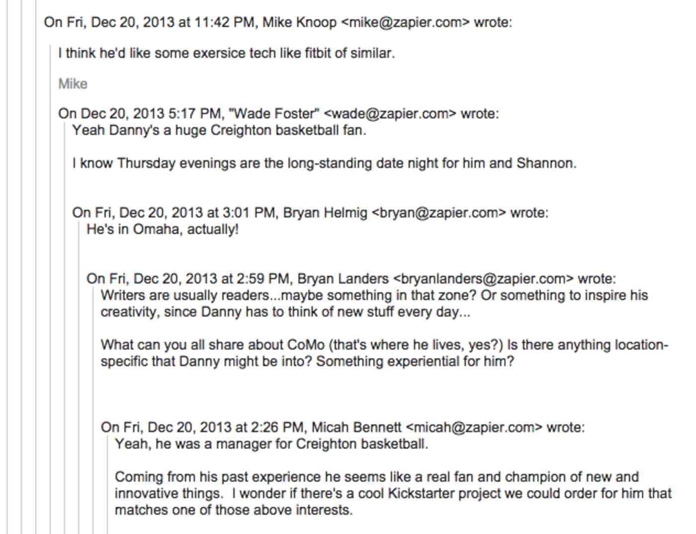 Danny Conspiracy Santa emails