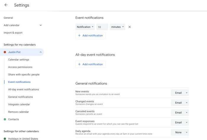 Notificaciones de eventos de Google Calendar