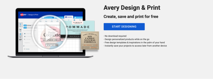 """A screenshot of the Avery Design & Print homepage, reading """"Create, save and print for free"""" and with a blue button that reads """"Start designing."""""""