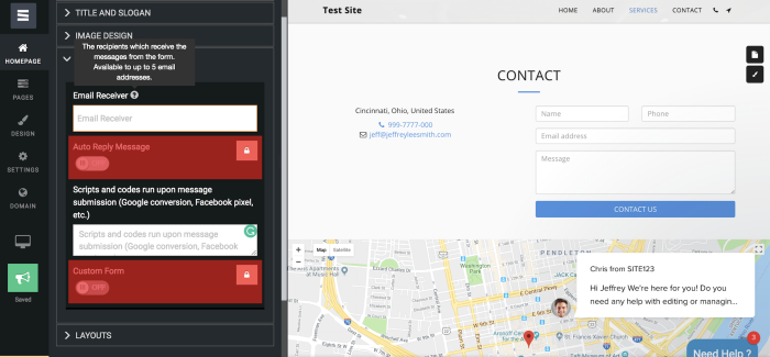 Site123 screenshot