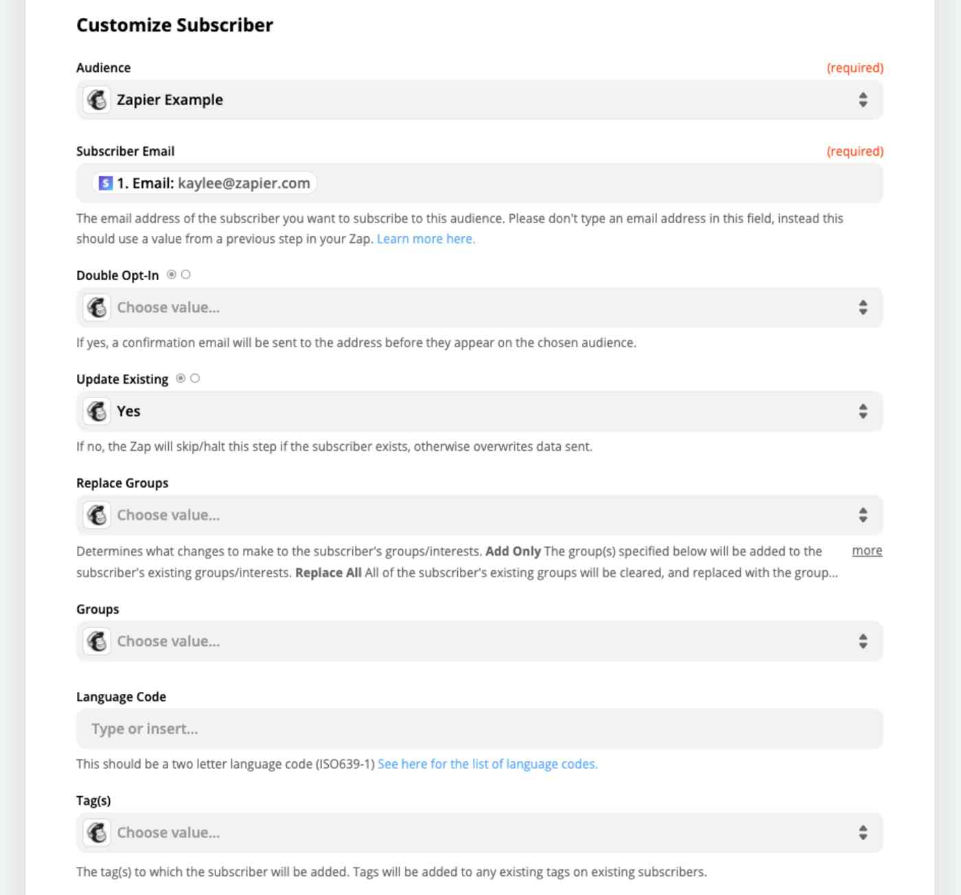 Customize your Mailchimp action step choosing tags, inserting their name, email address, and more.