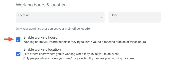 Unchecking the work hours feature in Google Calendar