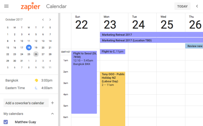 Google Calendar World Clock