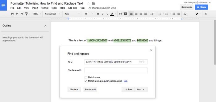 Google Docs regex