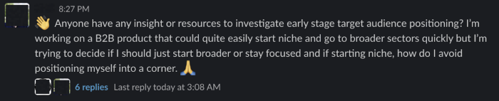 A screenshot of a chat from the Product-Led Growth Community
