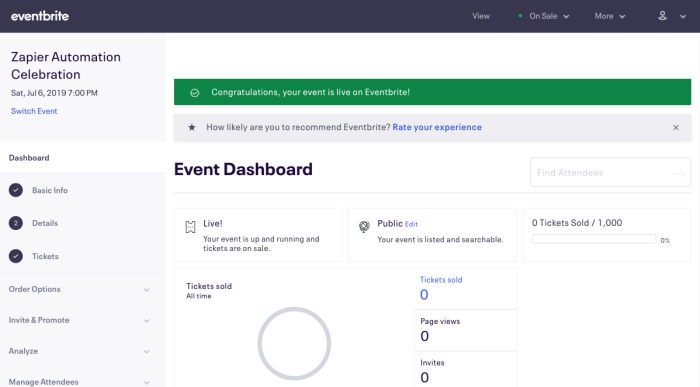 Event dashboard