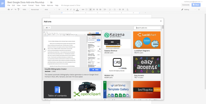 Google Docs Add-ons Gallery
