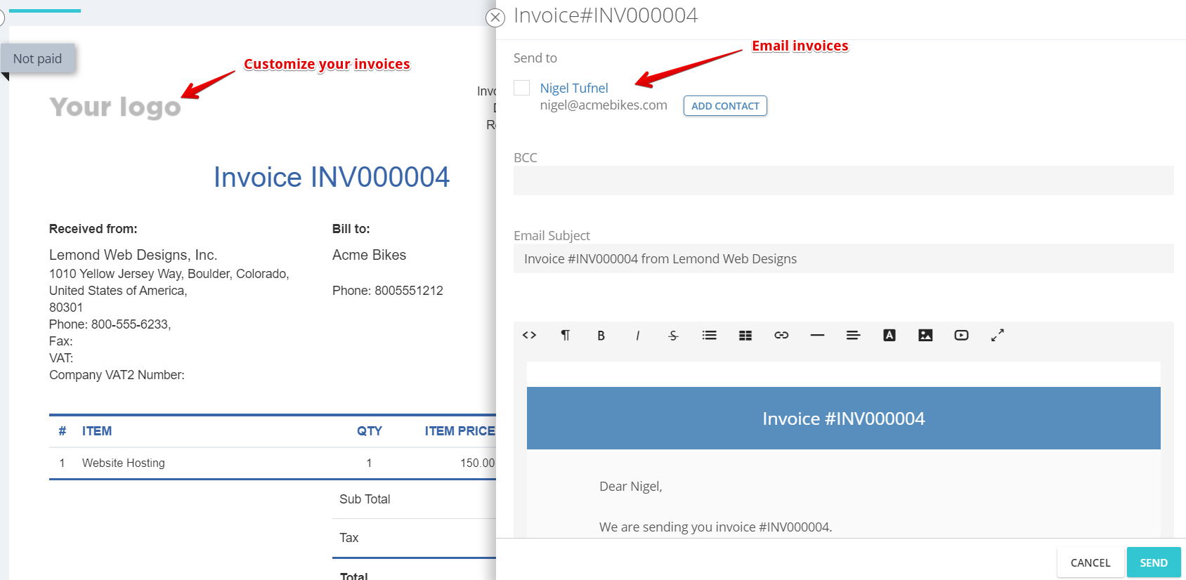 Customize invoices in Flowlu with your logo